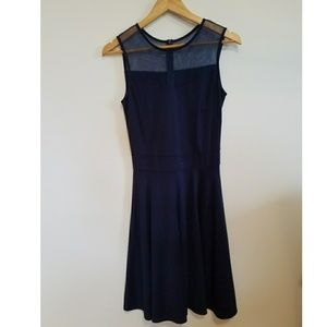Navy Blue mesh neck dress
